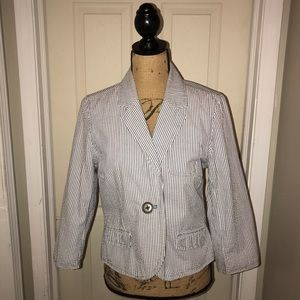 🌴 Old Navy Women's Seersucker 3/4 Sleeve Blazer